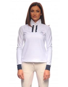 Блуза за състезания с дълъг ръкав, бяла