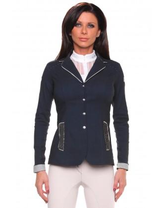 Дамско сако за състезания, синьо с яка цвят зебра