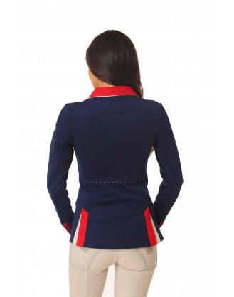 Дамско сако за състезания, тъмно синьо с червена яка