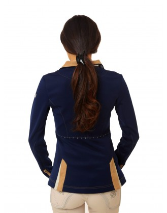Дамско сако за състезания, тъмно синьо с бежова яка