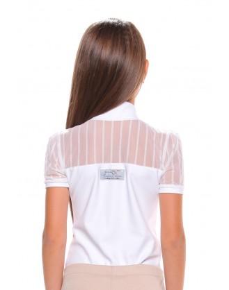 Детска блуза за състезания, бяла с дантела