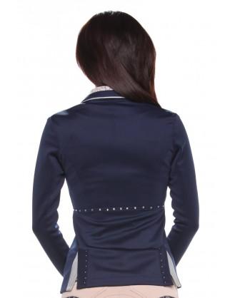 Дамско сако за състезания , синьо с дантела на яката