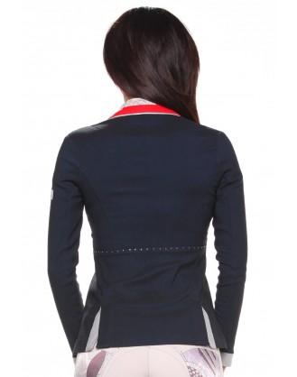 Дамско сако за състезания, синьо с червена яка
