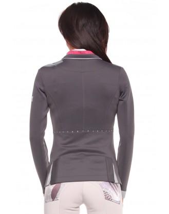 Дамско сако за състезания, сиво с розова яка