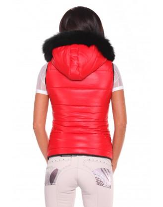 Дамски елек с лисица за езда, червен