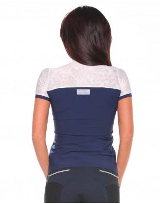 Дамска блуза за състезания, тъмно синя с дантела